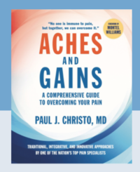 "Cover of Dr Christo's book ""Aches and Gains"""